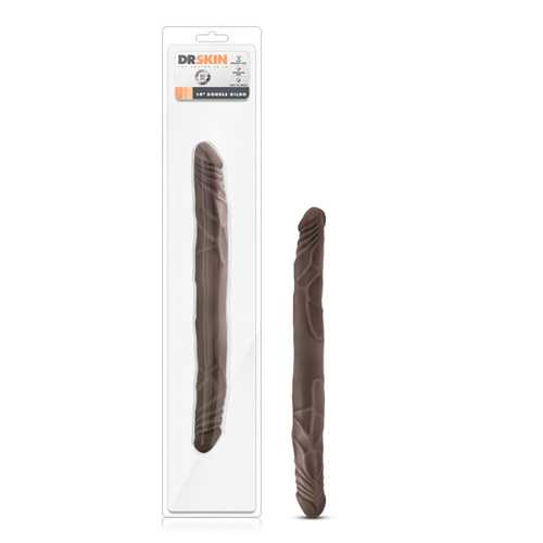 Dr. Skin - 14in Double Dildo - Chocolate