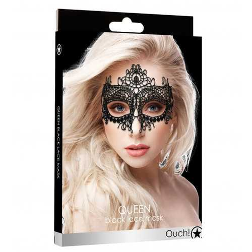 Ouch! Queen Black Lace Mask  - Black