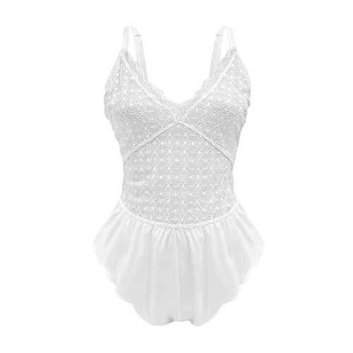 Neely Lace Romper Powder White Large