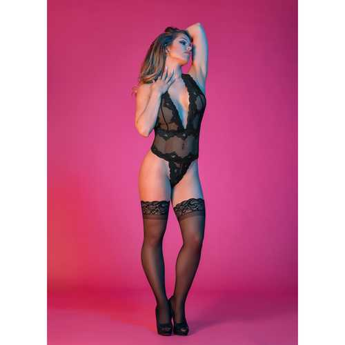 MS Sexy Time Deep Plunge Teddy Blk 1SQ