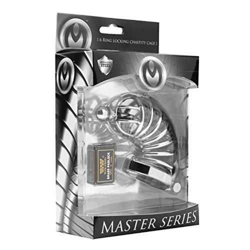 Masters Asylum 6 Ring Chastity Cage M/L