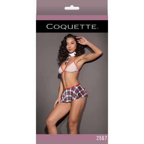 School Girl Fishnet Bralette Plaid Skirt