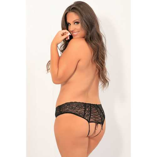 All Tied Up Open Back Panty Black 3x/4x