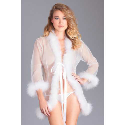 Sheer Short Robe Marabou Feather Trim