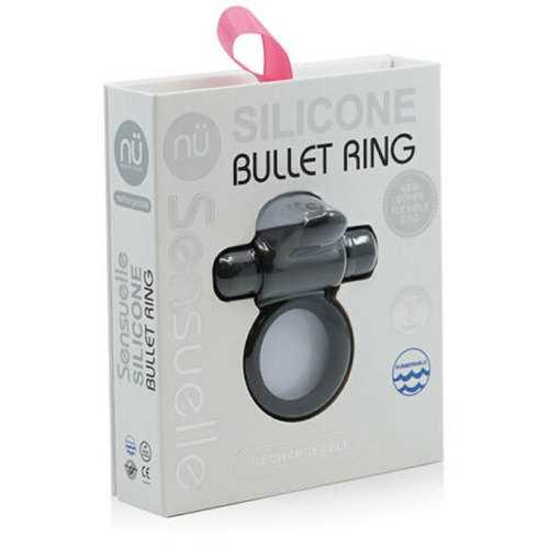 Sensuelle Bullet C-Ring W/Tongue Black
