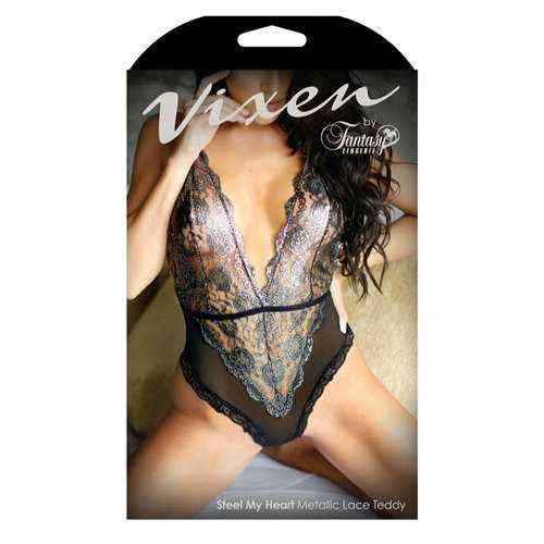 STEEL MY HEART  METALLIC LACE TEDDY
