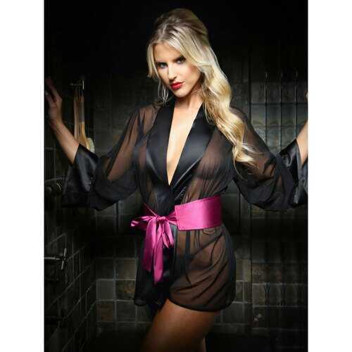 Nancy Dreesing Robe/Pants Set Blk L/XL