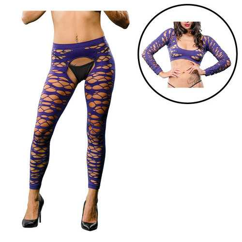 Violet Crotchless Legging  Side Strap