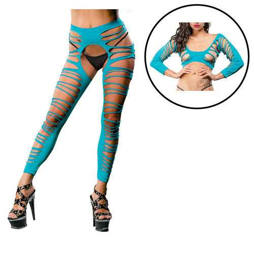 Turquoise Crotchless Leggings