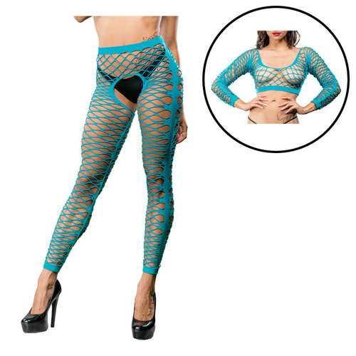 Turquoise Crotchless Side Panel Legging