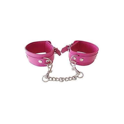 Plain Leather Wrist Cuffs - PINK