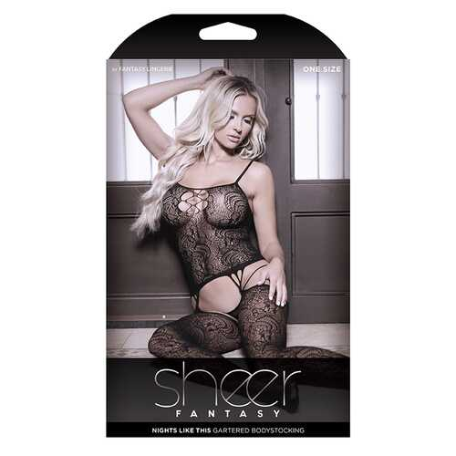 Sheer Nights Garter Bodystock Cutout OS
