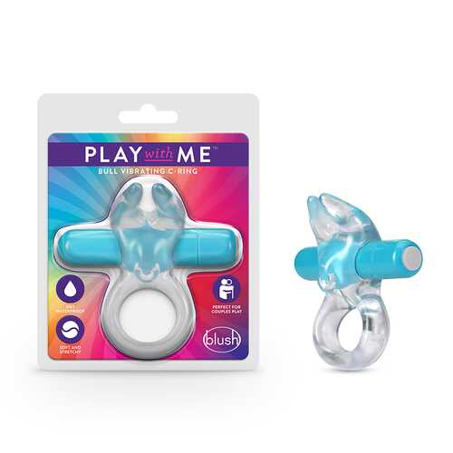 Play with Me Bull Vibrating C-Ring  Blue