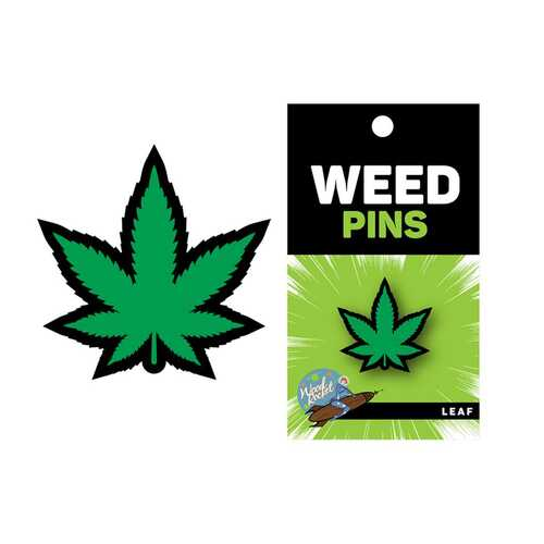 Weed Pin Green Marijuana Leaf