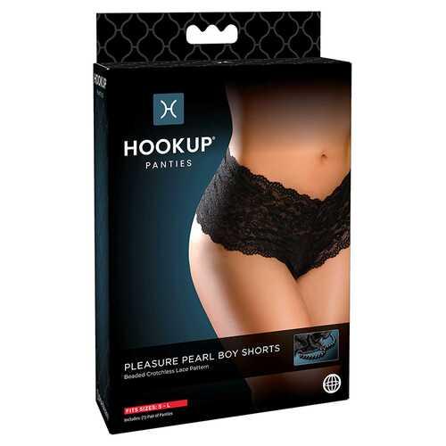 Hookup Pleasure Pearl Boy Shorts Bk S-L