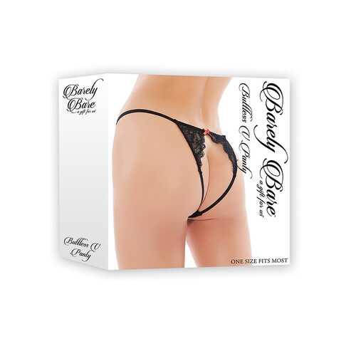 Barely Bare Buttless V-Panty Black O/S