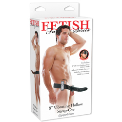 FF 8in Vibrating Hollow Strap-On Black
