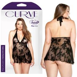 Curve Stretch Lace Chemise &G Blk 1X/2X
