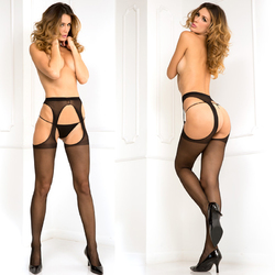 Suspender Thigh Highs Black O/S