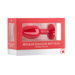 Ouch! Regular Diamond Butt Plug - Red