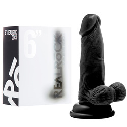 RealRock Cock - 6in -W/Scrotum - Black