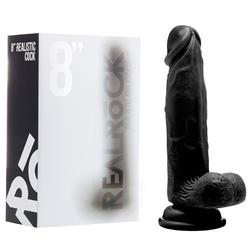 RealRock Cock - 8in -W/Scrotum - Black