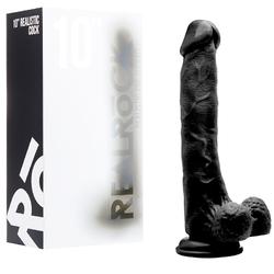 RealRock Cock - 10in -W/Scrotum - Black