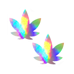 Neva Nude Pasty Weed Leaf Holographic