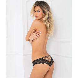 Come Undone Crotchless Panty Black S/M
