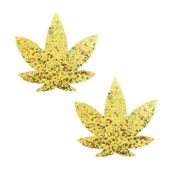 Neva Nude Pasty Weed Leaf Glit Spark Gld