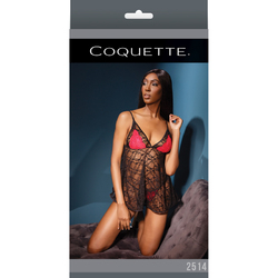 Baby Doll & G-String Blk/Red/Fucia OS