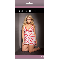 Babydoll And Thong White/Red XL