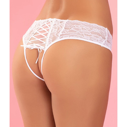 All Tied Up Open Back Panty White S/M