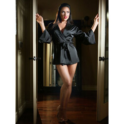 Satin Doll Dressing Robe Blk S/M