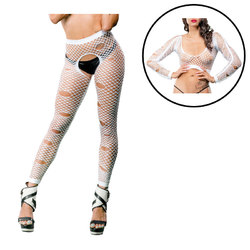 White distressed crotchless legging