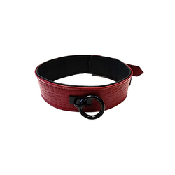 Leather Collar Cuffs Burgunday & Black