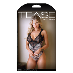 TEASE Lorene Animal Print  Lace Teddy S/