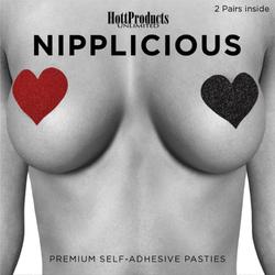 Nipplicious Heart Pasties Glitter Red&Bk
