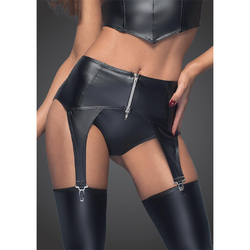 Noir Powerwetlook Garter Belt/ Zipper Sm