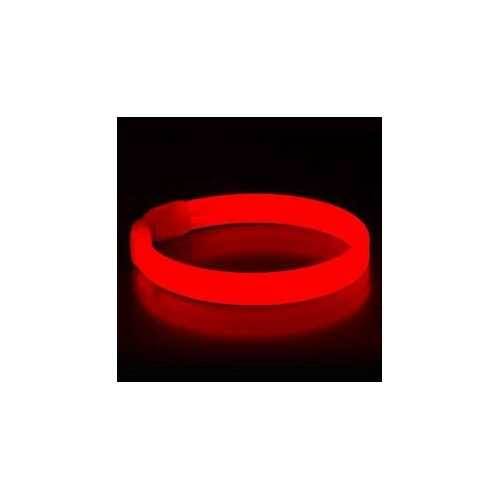 Wide Glow Stick 8 Inch Bracelet Red Pack of 30