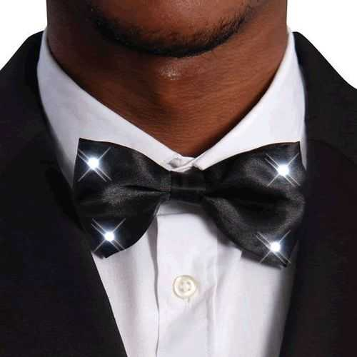 Black Bow Tie with White LED Lights