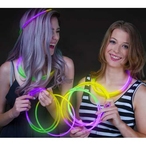 22 Inch Glow in the Dark Tri Color Necklace Green Purple Yellow 50 Pack
