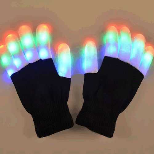 Black and White Gloves with Multicolor LED Fingers
