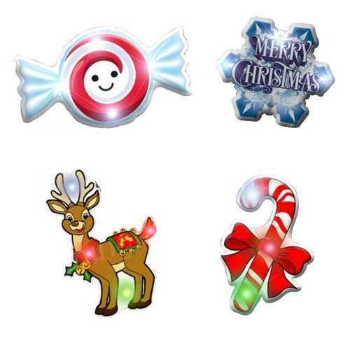 Assorted Christmas 1 Flashing Blinky Body Light Lapel Pins
