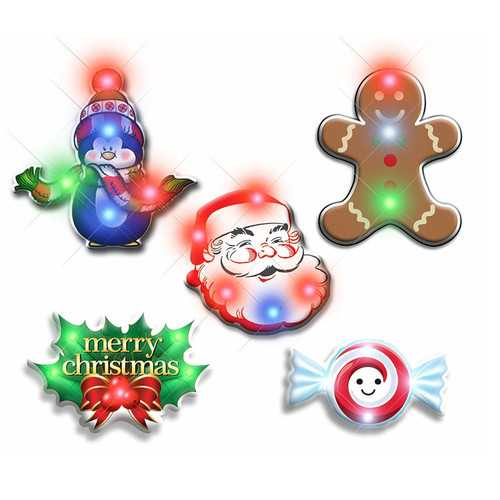 Assorted Christmas 2 Flashing Blinky Body Light Lapel Pins Pack of 25