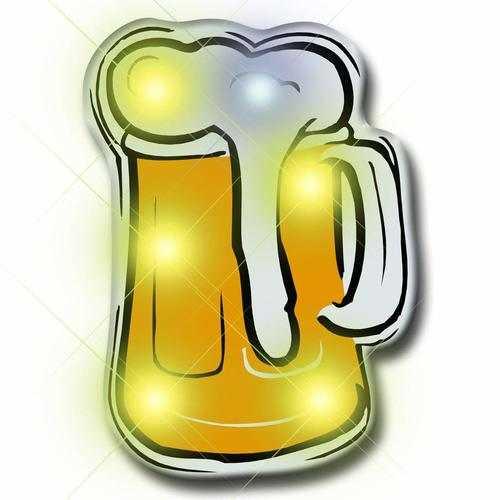 Beer Flashing Body Light Lapel Pins