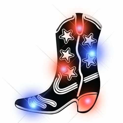 Black Cowboy Boot Flashing Body Light Lapel Pins