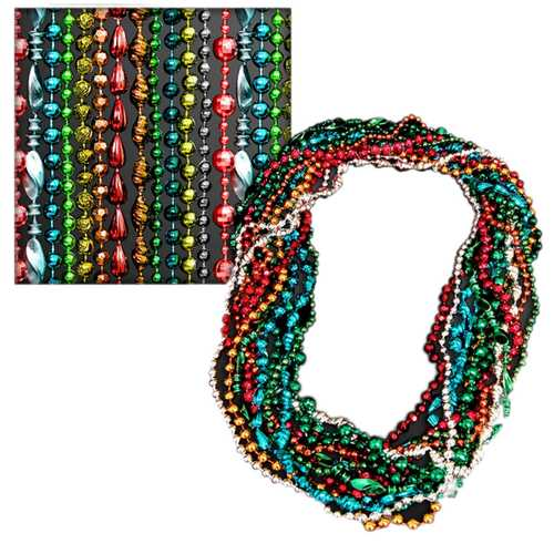 Assorted Style and Color Mardi Gras Bead Necklaces Pack of 12