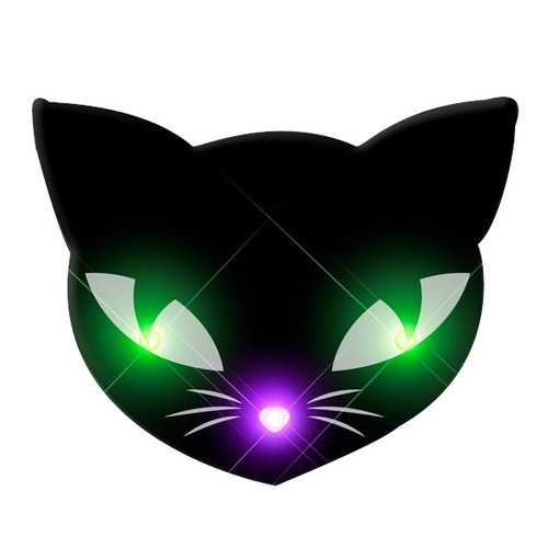 Black Kitty Cat Glowing Green Spooky Halloween Eyes Flashing Blinky Light Necklace