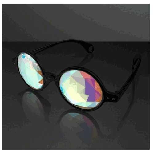 Black Frame Far Out Kaleidoscope Diamond Lense Glasses